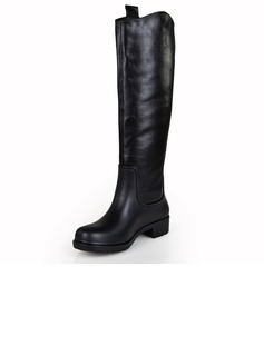 Real Leather Low Heel Knee High Boots shoes