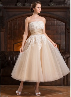 A-Line/Princess Strapless Tea-Length Satin Tulle Wedding Dress With Beading Appliques Lace Sequins