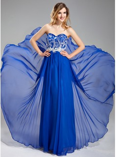 A-Line/Princess Sweetheart Floor-Length Chiffon Prom Dress With Beading Appliques