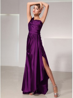 A-Line/Princess One-Shoulder Asymmetrical Charmeuse Evening Dress With Ruffle Split Front