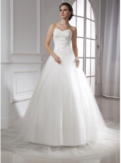 Ball-Gown Sweetheart Chapel Train Satin Tulle Wedding Dress With Lace Beadwork
