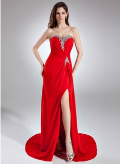 Sheath Sweetheart Court Train Chiffon Prom Dress With Ruffle Beading Sequins (018015949)