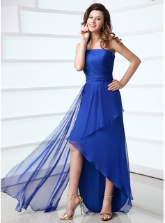 Sheath One-Shoulder Asymmetrical Chiffon Holiday Dress With Ruffle