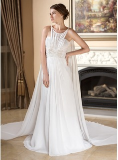 A-Line/Princess Scoop Neck Watteau Train Chiffon Wedding Dress With Ruffle Beading
