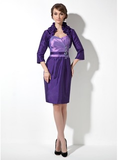 Sheath/Column Sweetheart Knee-Length Taffeta Mother of the Bride Dress With Ruffle Beading Appliques