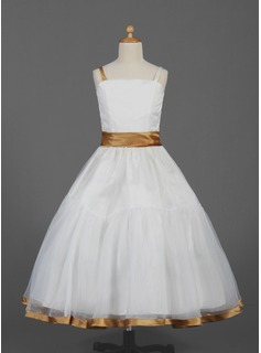 A-Line/Princess Ankle-Length Organza Satin Flower Girl Dress With Sash
