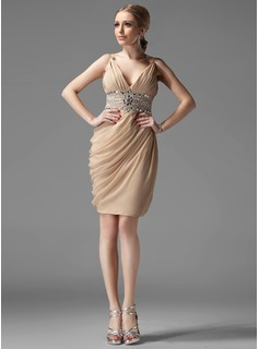 Sheath V-neck Knee-Length Chiffon Cocktail Dress With Ruffle Beading (016002945)