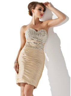 Sheath Sweetheart Short/Mini Taffeta Cocktail Dress With Ruffle Beading Sequins (016008490)