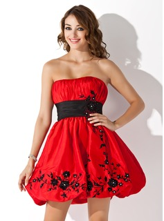 Empire Strapless Short/Mini Taffeta Homecoming Dress With Embroidered Ruffle Sash Beading (022004641)