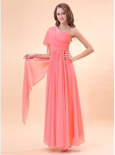 A-Line/Princess One-Shoulder Floor-Length Chiffon Holiday Dress With Ruffle Beading (020014396)