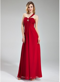 Empire One-Shoulder Floor-Length Chiffon Evening Dress With Ruffle Beading