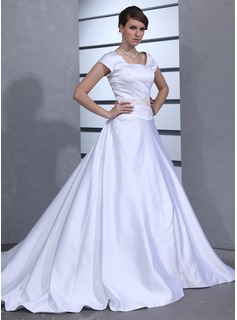 Ball-Gown Square Neckline Chapel Train Satin Wedding Dress With Beading