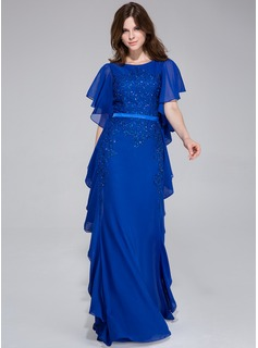 A-Line/Princess Scoop Neck Floor-Length Chiffon Charmeuse Evening Dress With Lace Beading Cascading Ruffles