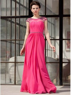 A-Line/Princess Scoop Neck Floor-Length Chiffon Tulle Evening Dress With Ruffle Beading