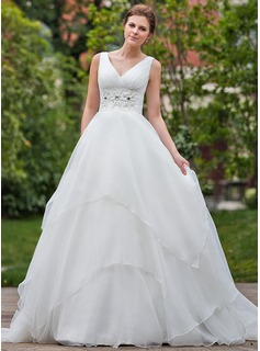 Ball-Gown V-neck Chapel Train Organza Wedding Dress With Ruffle Beading