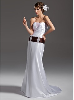 A-Line/Princess Strapless Court Train Tulle Charmeuse Wedding Dress With Ruffle Sash Beadwork