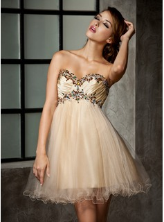 Empire Sweetheart Short/Mini Taffeta Tulle Homecoming Dress With Ruffle Beading (022013925)