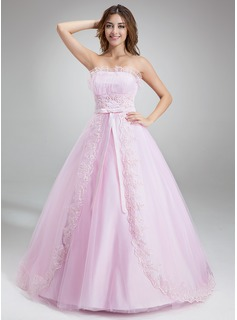 Ball-Gown Scalloped Neck Chapel Train Satin Tulle Quinceanera Dress With Ruffle Lace Beading