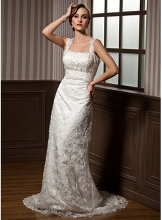 Sheath/Column Sweetheart Watteau Train Chiffon Charmeuse Lace Wedding Dress With Ruffle Beadwork (002012795)