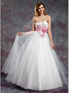 A-Line/Princess Sweetheart Floor-Length Taffeta Tulle Prom Dress With Sash Beading Flower(s) Sequins