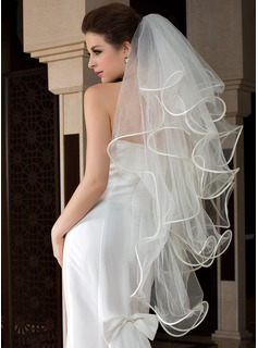 Four-tier Fingertip Bridal Veils With Finished Edge