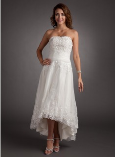 A-Line/Princess Sweetheart Asymmetrical Satin Tulle Wedding Dress With Lace Beadwork (002011546)