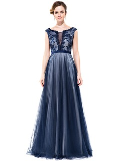A-Line/Princess Scoop Neck Floor-Length Tulle Charmeuse Prom Dress With Lace Beading Sequins