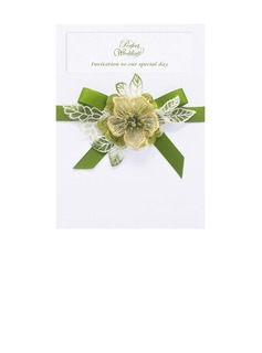 Floral Style Wrap & Pocket Invitation Cards With Ribbons (set of 50) (118040270)
