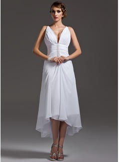 A-Line/Princess V-neck Asymmetrical Chiffon Wedding Dress With Ruffle Beadwork
