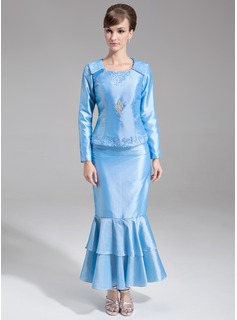 Trumpet/Mermaid Scoop Neck Ankle-Length Taffeta Mother of the Bride Dress With Lace Beading