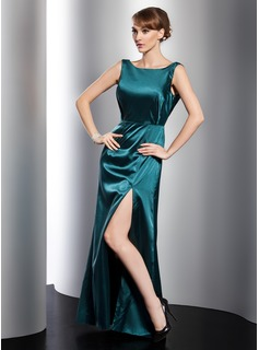 A-Line/Princess Scoop Neck Floor-Length Charmeuse Evening Dress (017021102)