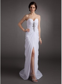 Sheath Sweetheart Sweep Train Chiffon Evening Dress With Ruffle Beading (017016335)
