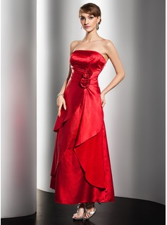 A-Line/Princess Strapless Ankle-Length Charmeuse Prom Dress With Ruffle Beading Flower(s) (018014499)