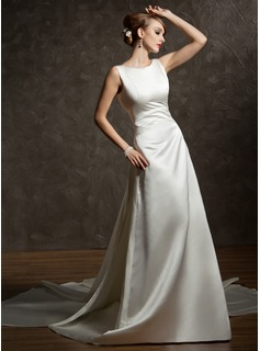 A-Line/Princess Scoop Neck Watteau Train Satin Wedding Dress With Ruffle (002012755)