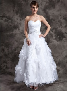 A-Line/Princess Sweetheart Ankle-Length Organza Tulle Wedding Dress With Lace Beadwork Flower(s)