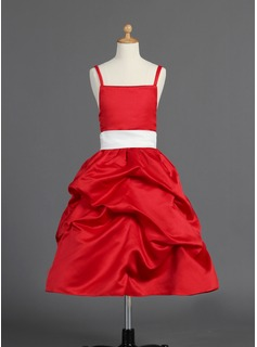 A-Line/Princess Tea-Length Satin Flower Girl Dress With Ruffle Sash