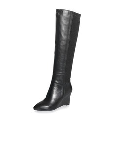Real Leather Wedge Heel Knee High Boots Riding Boots shoes