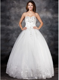 Ball-Gown Sweetheart Floor-Length Satin Tulle Wedding Dress With Lace Beadwork Flower(s) Sequins