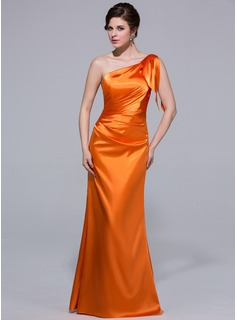 Sheath One-Shoulder Floor-Length Charmeuse Bridesmaid Dress With Ruffle