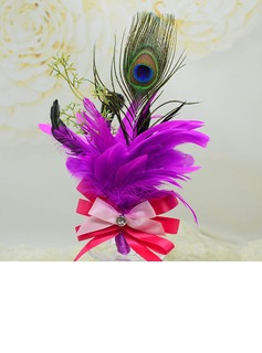 Pretty Free-Form Ribbon/Feather Boutonniere