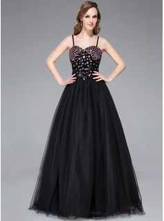 A-Line/Princess Sweetheart Floor-Length Satin Tulle Sequined Prom Dress With Beading
