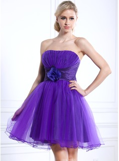 Empire Strapless Short/Mini Taffeta Tulle Homecoming Dress With Ruffle Flower(s) (022020624)