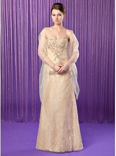 Sheath/Column Sweetheart Floor-Length Taffeta Lace Mother of the Bride Dress With Beading Sequins
