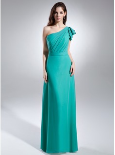 A-Line/Princess One-Shoulder Floor-Length Chiffon Holiday Dress With Ruffle (020015638)