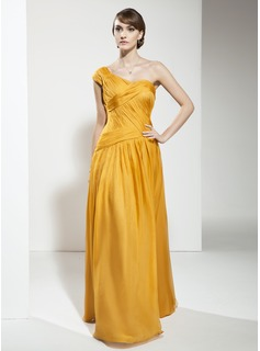 A-Line/Princess One-Shoulder Floor-Length Chiffon Evening Dress With Ruffle (017026000)