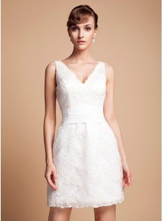 Sheath/Column V-neck Short/Mini Satin Wedding Dress With Lace (002011935)