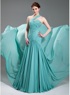 A-Line/Princess One-Shoulder Court Train Chiffon Evening Dress With Ruffle Beading Appliques