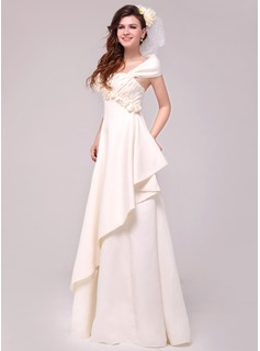 A-Line/Princess Off-the-Shoulder Floor-Length Satin Wedding Dress With Beading Flower(s) Cascading Ruffles