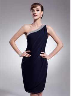 Sheath One-Shoulder Knee-Length Chiffon Cocktail Dress With Ruffle Beading (016021276)