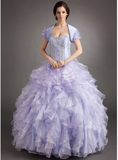 Ball-Gown Sweetheart Floor-Length Organza Satin Quinceanera Dress With Lace Beading Cascading Ruffles